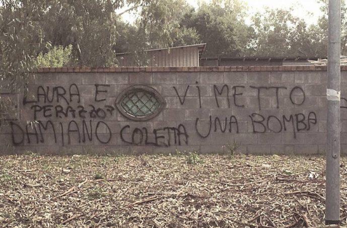 minacce-scritta-coletta-perazzotti-latina