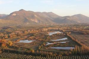Panoramica dell'oasi di Pantanello-Giardini di Ninfa