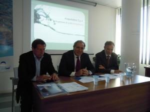 da sinistra l'ad di Acqualatina Besson e accanto il presidente Addessi entrambi riconfermati