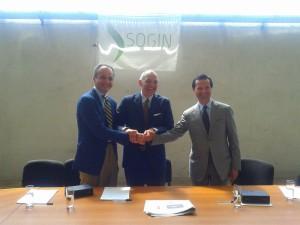 Al centro l'Ad di Sogin, Giuseppe Nucci. A sinistra il presidente di Federlazio, Michele Fantasia, a destra Paolo Marini a capo di Confidustria Latina