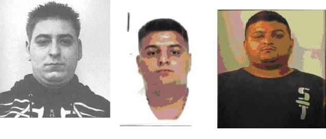 Da sinistra: Nica, il latitante arrestato, il capo della banda Razvan e il terzo complice, Aramis