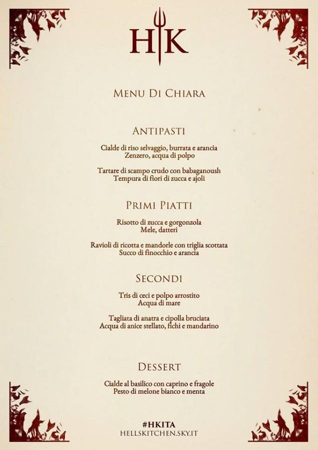 menu chiara