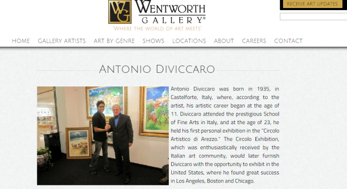 La presentazione sul sito della Wentworth Gallery