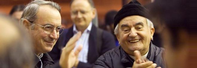 Monsignor Lambiasi con Don Benzi (foto della diocesi di Rimini)