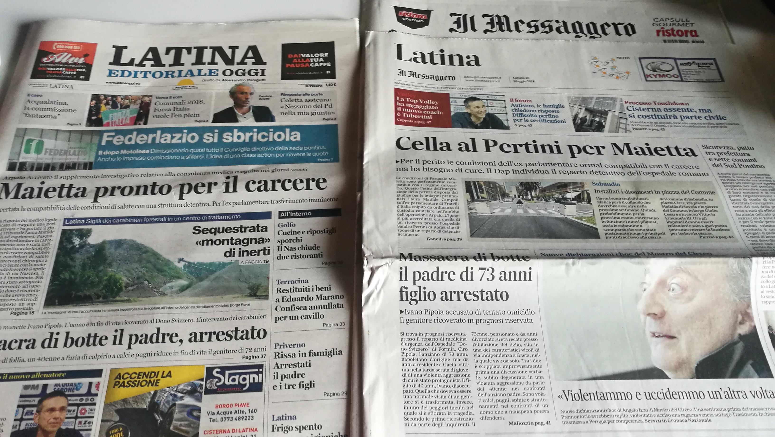 I Titoli Dei Quotidiani Locali 26 Maggio 2018 Luna Notizie